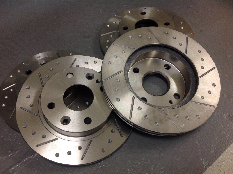 Rear Fnt Mazda MX5 Mk2 1.8 Sport Grooved Brake Discs /& EBC UltiMAX Pads